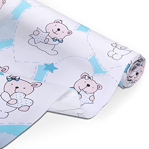 Amilian Tela de algodón por metro, telas, restos de tela, paquete de tela: aprox. 160 cm x 100 cm, para coser, patchwork, 100% algodón, tela de algodón, tela de costura, oso con corazones menta.