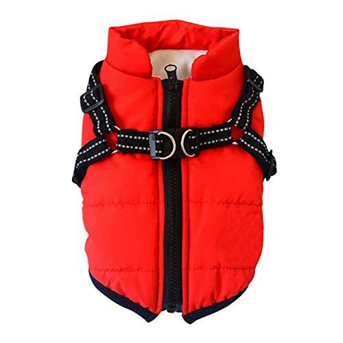 DRKFOP Canine Wear - Chaqueta de invierno impermeable con arnés (color: rojo, tamaño: L)