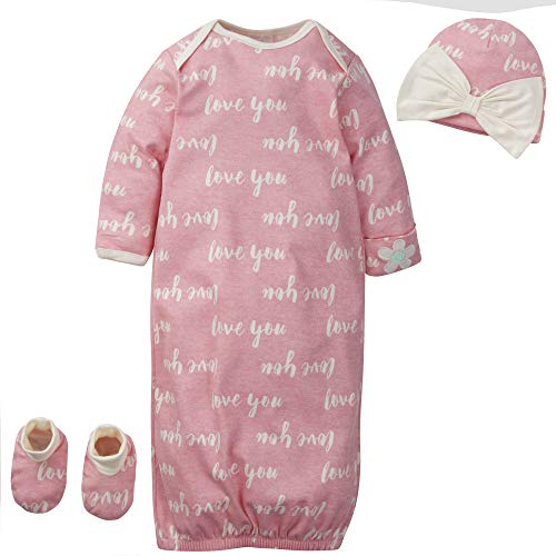 Gerber Baby Girls' Organic 3-Piece Gift Set Gown with Cap and Booties, Pink Love You, Preemie