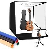 SHOTFOTO 60x60x60cm Caja de Fotografía Portátil Plegable Photo Studio Light Box Estudio Fotográfico luz Regulable de 120 LED con 6 Fondos de Colores y Bolsa de Transporte y Trípode