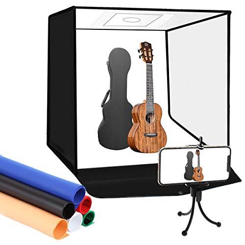 YOTTO Fotostudio 24'/ 60 cm Tragbares Schießzelt Lichtzelt Dimmbare 120 LED Faltbare Fotografie Studio Kit Beleuchtung Lichtbox Leuchtkasten mit Handy...