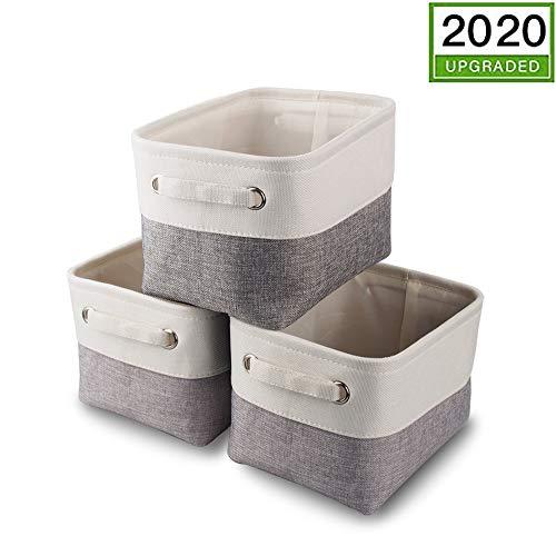 Mangata Kleine Canvas-Aufbewahrungsbox, Stoff-Aufbewahrungskorb mit Griffen für Schränke, Regale, Kleidung, Spielzeug (3 Stück, faltbar, grau-weiß)