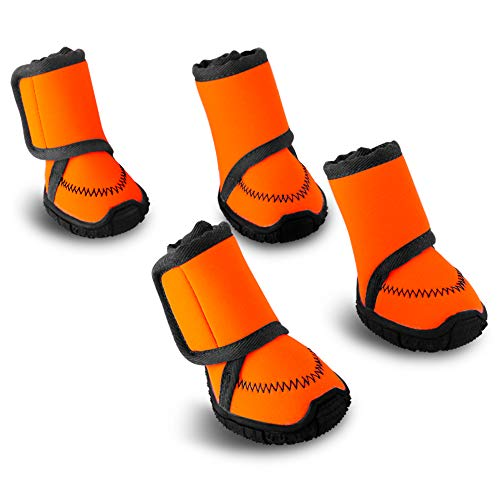 Petbobi Waterproof Dog Shoes Fluorescent Orange Dog Boots Adjustable Straps and Rugged Anti-Slip Sole Paw Protectors for All Weather Comfortable Easy to Wear Suitable for Small Dog (XXS)