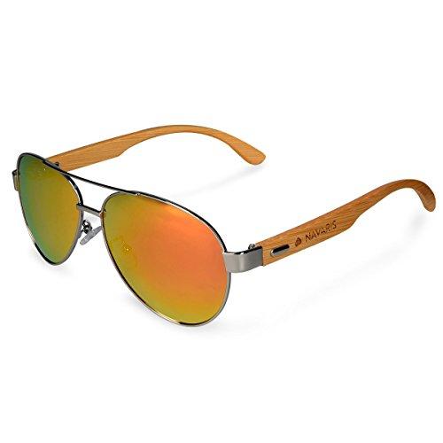 Navaris Gafas de sol polarizadas de madera - Lentes con protección UV400 - gafas de bambú - Diseño unisex hombre mujer - Lentes amarillo naranja