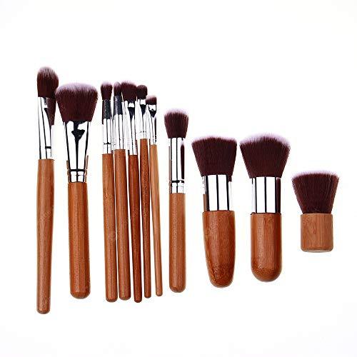 OverTop Lot de 11 pinceaux de maquillage en nylon avec manche en bambou