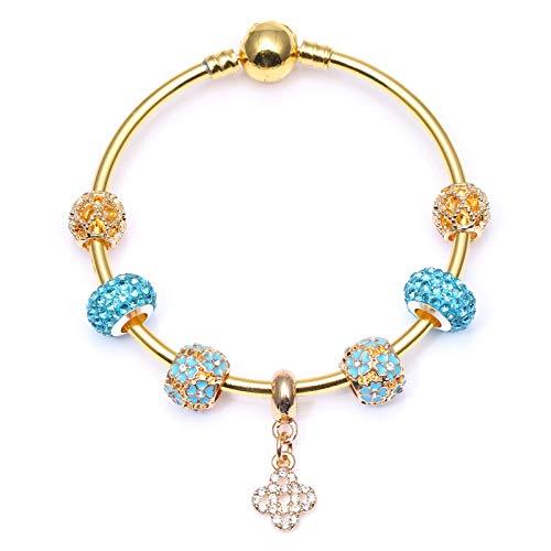 Color oro serpiente cadena encanto pulsera con cristal Wishful nudo colgantes pulsera para las mujeres Navidad joyería regalo C01 21cm