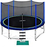 Zupapa 15 14 12 10 8FT Trampoline for Kids with Safety Enclosure Net 425LBS Weight Capacity Outdoor Backyards Trampolines with Non-Slip Ladder All Accessories for Children Adults Family(12FT)