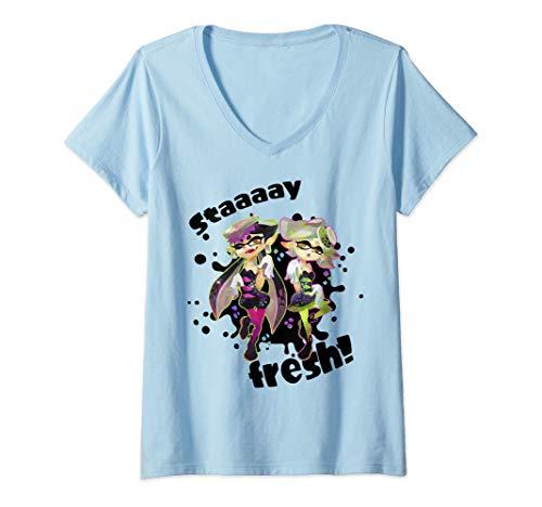 Womens Nintendo Splatoon Squid Sisters Stay Fresh V-Neck T-Shirt