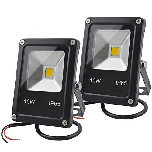 GLW 12V DC LED Flutlicht,10W Mini IP65 im Freien Wasserdichtes Arbeitslicht,900lm,3000K,Warmes Weißes Sicherheitslicht,80W Halogenbirne,2-Teiliger KEIN Stecker