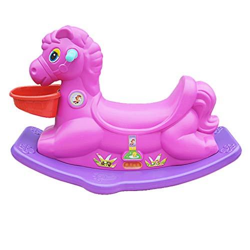 Cavalli a dondolo FJH plastica Giocattolo per Bambini Trojan Baby Age Gift Addensare Indoor Rocking Chair Baby Trojan (Colore : Purple)