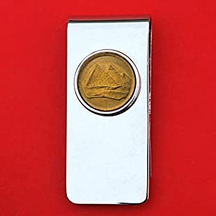 Egypt 1984 1 Piastre Gold Pyramids Gem BU Uncirculated Coin Solid Brass Money Clip New:Greatestmixtapes