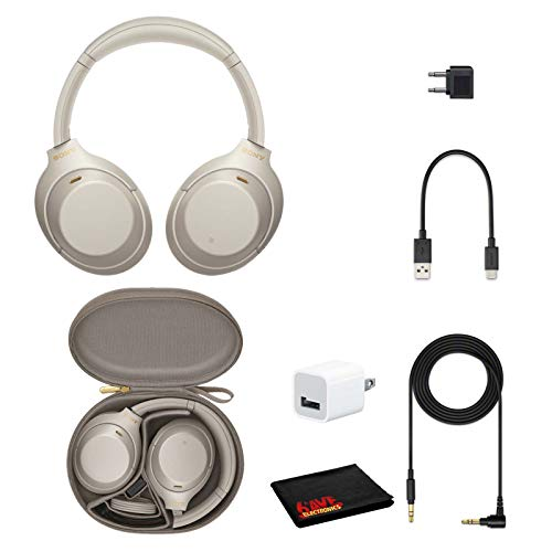 Sony WH-1000XM4 Wireless Noise Canceling Overhead Headphones with Mic for Phone-Call, Voice Control, Silver, with USB Wall Adapter and Microfiber Cleaning Cloth - Bundle