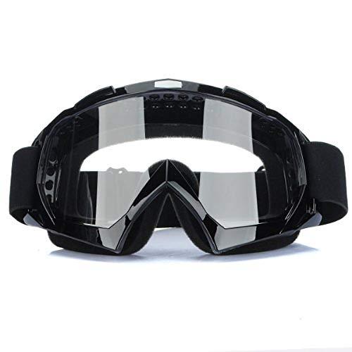 Jzhen Anti-UV Brouillard, Lunettes Transparent Clair pour Moto Cross Goggle-Noir