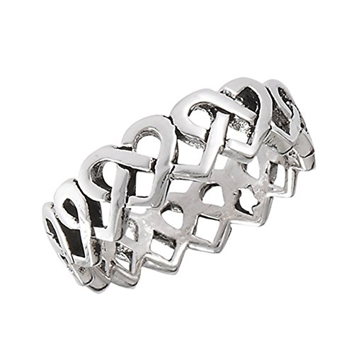 Celtic Eternity Criss Cross Heart Promise Ring Sterling Silver Band Size 3.5