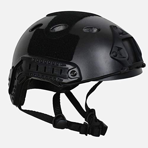COZYJIA Taktische Armee Military Style PJ Typ SWAT Kampf schnellen Helm mit Brille NVG Mount und Side Rail für CQB schießen Airsoft Paintball (schwarz)