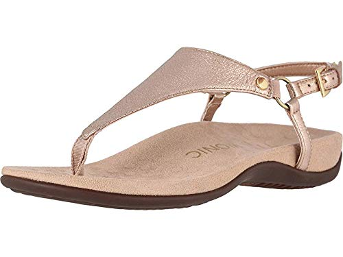 Vionic Women's Rest Kirra Backstrap Sandal - Ladies Sandals with Concealed Orthotic Arch Support Rose Gold Metallic 5 Medium US