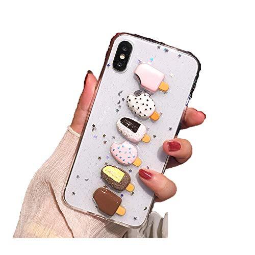 Luxus Süße 3D Eiscreme Glitzer Transparent Silikon Handyhülle für iPhone X XR XS MAX 7 8 Plus für Samsung S8 S9 S10 Note 8, for S10, beige