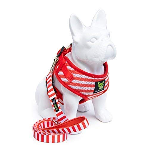 EcoBark Dog Harness and Matching Leash Combo Set; Soft Double Padded, Fully Adjustable Neck and Tummy for Small and Medium Dogs (Small, Stripe)