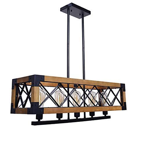 BLWX LY-hanglampen massief houten kroonluchter, Europese retro industrie bar kroonluchter, creatieve houten lijst plafond decoratieve verlichting, 80cm