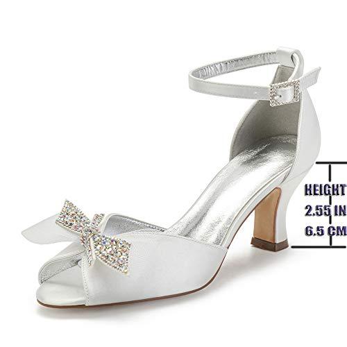 Scarpe da Sposa, Brillante Diamante Bow Satin Punta Aperta Scarpe da Sposa Caviglia Cinturino in Festa da Ballo Damigella d'Onore Scarpette Sandali,Avorio,39 EU