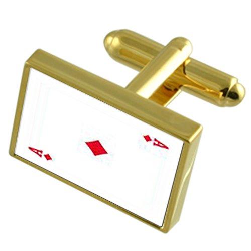 Select Gifts Jouer Diamond Card Ace Gole-ton Coffret Cravate boutons de manchettes en option gravé
