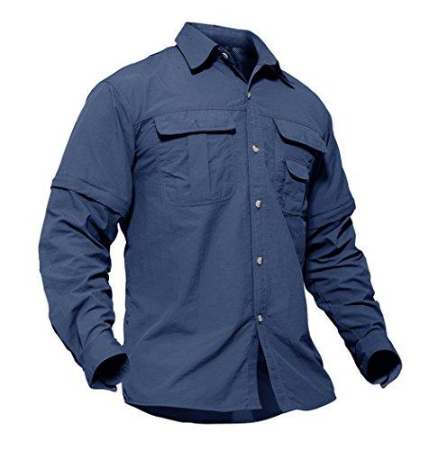 TACVASEN Chemise Bleue Homme Manches Courtes avec Poche Travail Ouvrier Shirt Men Blue T-Shirt Sports Fitness Work Tee-Shirt Bleu