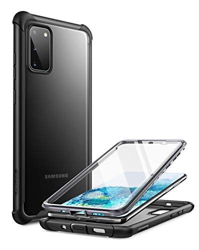 Clayco Forza Series Case for Samsung Galaxy S20 5G, Built-in Screen Protector Compatible with Fingerprint ID, Full-Body Rugged Cover, 6.2 inch, 2020 Release (Black)