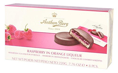 Marzipan-Pasteten mit Füllung und Schokoladenüberzug ANTON BERG - HIMBEERE IN ORANGENLIKÖR (8 Stk./220 g) DÄNISCHE SPEZIALITÄT