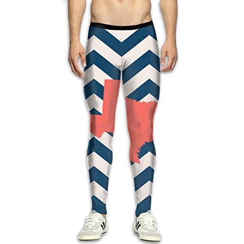 FIRS American Texas State Map Leggings de Yoga pour Homme Pantalon de Sport Leggings d'entraînement Pantalon Skinny Gym - Noir - 34-37