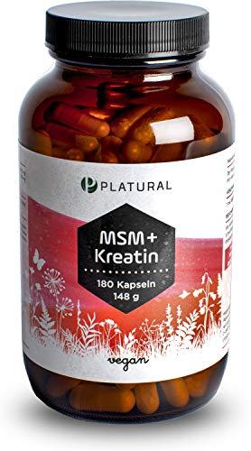 Platural® MSM + Kreatin - Methylsulfonylmethan und Creatin Monohydrat - 180 Premium Kapseln laborgeprüft - vegan, hochdosiert, in Deutschland hergestellt