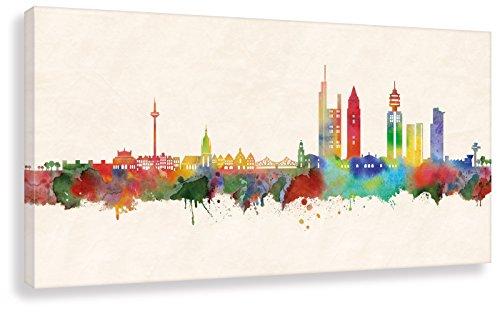 Kunstbruder - Frankfurt Skyline - Farbe (div. Größen) - Kunst Druck Leinwandbild Wandbild Streetart Like Banksy Panorama Loungebild 30x60cm