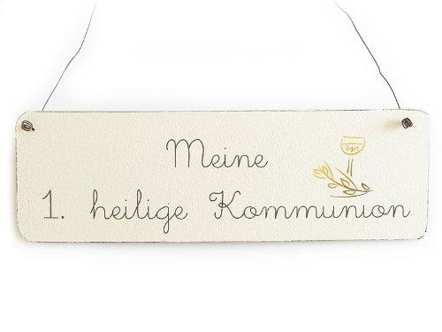 Interluxe Vintage Deko Schild Türschild ERSTE HEILIGE Kommunion 1 Shabby Chic Landhaus Impression