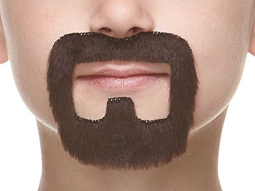 Mustaches Fake Beard, Self Adhesive, Novelty, Small Inmate False Facial Hair, Costume Accessory for Kids, Dark Brown Color