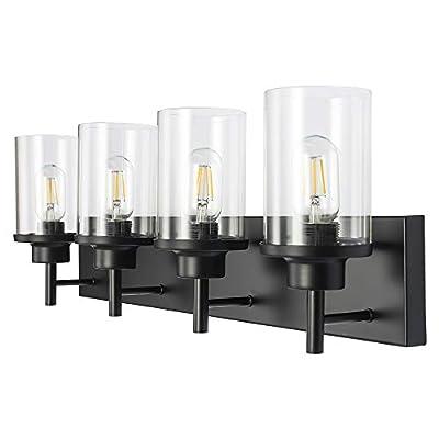 LMSOD 4 Light Bathroom Vanity Light Fixtures, Black Modern Industrial Farmhouse Style Wall Light with Clear Glass Shade