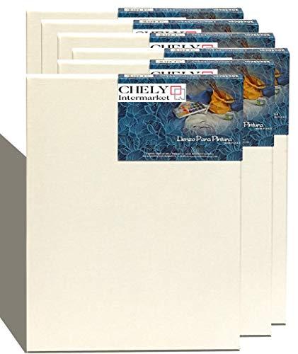 Chely Intermarket, Lienzos para pintar 30x40 cm perfil 16mm   Pack de 6 unds| Apto óleo, acrílico Pre-estirado 100% algodón Libre de Ácido Hebra Media Color blanco (560-30x40*6-0,30)
