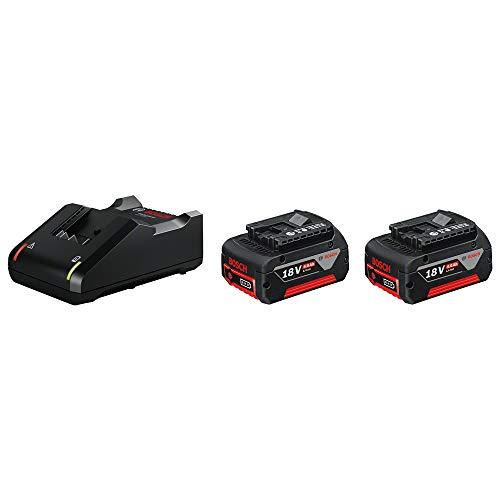 Bosch Professional 18V System Akku Starterset (2x4.0Ah Akku + Ladegerät GAL 18V-40, im Karton)