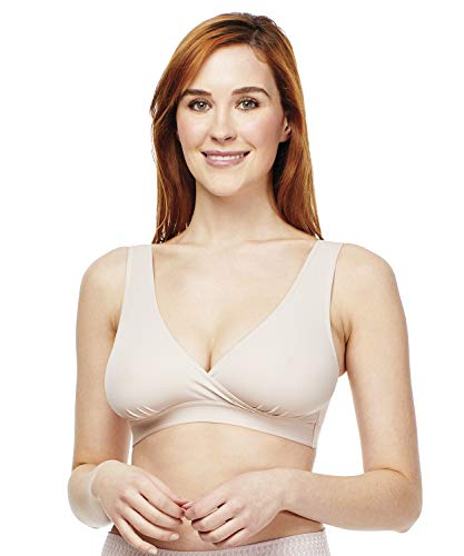 Carole Martin Cozy Pullover Bra with Crossover Wrap Design, Beige 36
