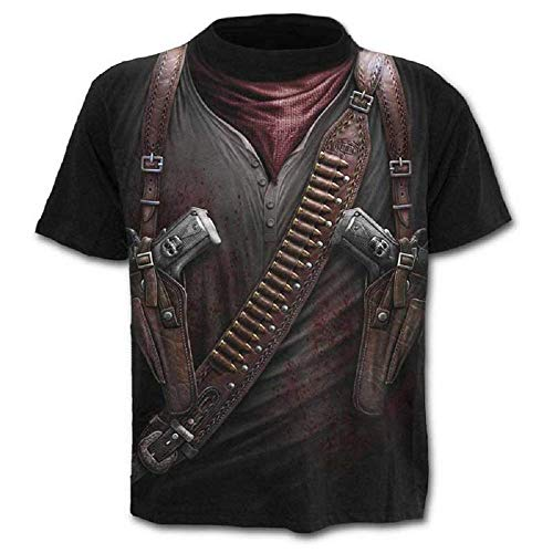 Lovelegis T-Shirt - Maglietta - Maglia Rambo - Guerriero - Militare - Teschio Gotico - 3D - Maniche Corte - Uomo - Donna - Unisex - Divertenti - Regalo - Cosplay - Travestimento - Taglia L - C06