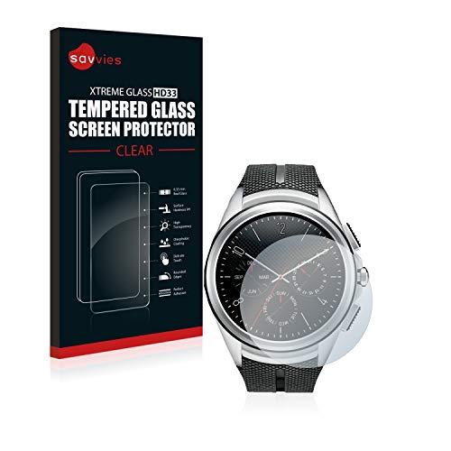 Savvies Panzerglas kompatibel mit LG Watch Urbane 2nd Edition - Echt-Glas, 9H Festigkeit, Anti-Fingerprint