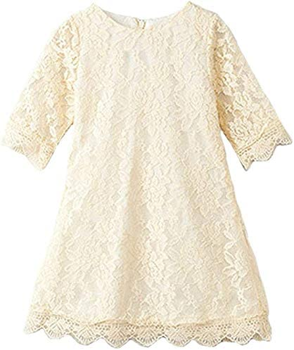 2Bunnies Girl Vintage Boho Lace Scalloped Trim Flower Girl Dress Long Sleeve Ivory 7 8YRS product image