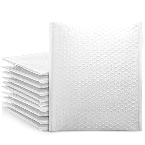 Fuxury White 8.5x12 Poly Bubble Mailers, 25 Pack Self-Seal Shipping Bags, Bubble Padded Mailing Shipping Envelopes, Package Mailing Bags, Shipping Supplies, Packaging for Small Business