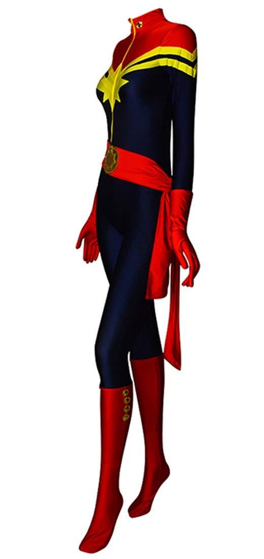 Ms Marvel Costume Carol Danvers Lady Superhero Costume Spandex Tight Halloween Cosplay Costume (Medium)