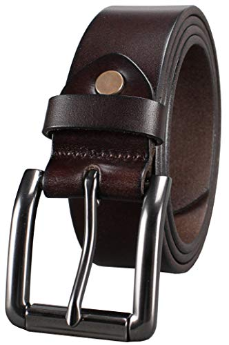 Bullko Men's Genuine Leather Belt Brown Casual Jean Belts for Men 32-34inch