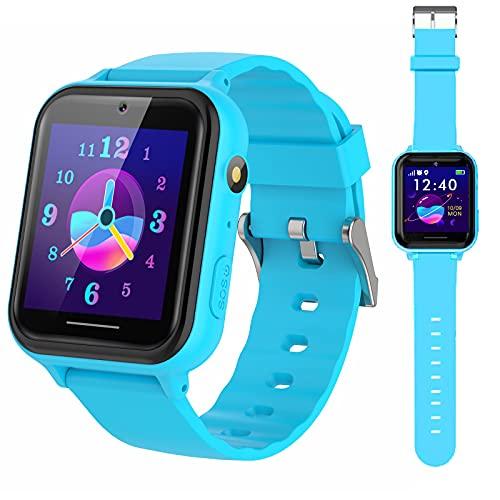 PTHTECHUS Reloj Inteligente Niño, Smartwatch para Niña y Niño Pantalla con Música Podómetro Juegos Llamada Linterna Video Cámara Despertador Regalos para niños de 4 a 12 años