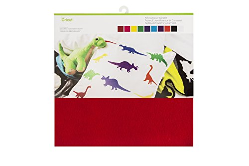 10 sheets 12 in. X 12 in. Felt in red, pink, yellow, green, blue, turquoise, Purple, orange, black, and White Bright, fun, soft, and smooth medium-weight felt cuts easily without the need for a Deep cut blade; sheets measure 1 mm thick Ideal for kid...