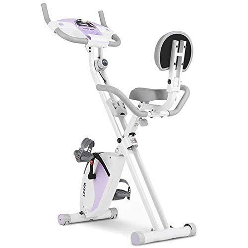 Weiyue Bicicleta estática 4 en 1, Bicicleta f Plegable con Respaldo Pantalla LCD Soporte teléfono Celular Sensores Pulso Mano Ejercitador piernas Entrenamientos Oficina casa-Púrpura 70 * 40 * 122cm