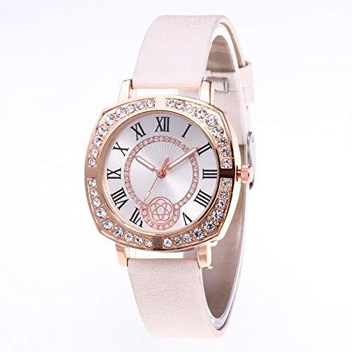 JZDH Relojes para Mujer Moda Mujeres Watches Women Gold Diamond Square Casual Quartz Watch Women Strap Strap Relojes Relojes Decorativos Casuales para Niñas Damas