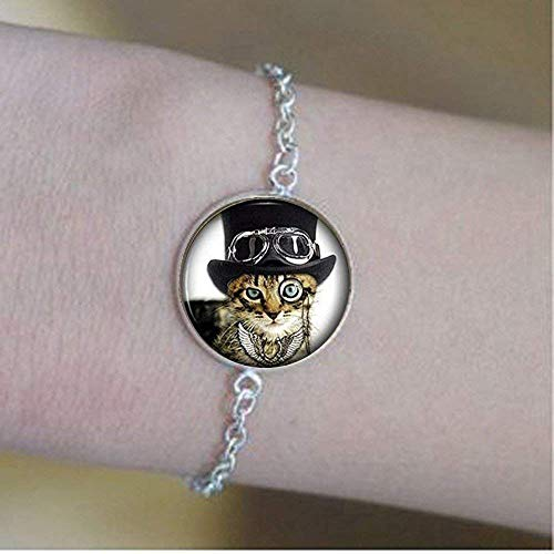Armband mit Katzen-Motiv, Steampunk, lustig, Glas