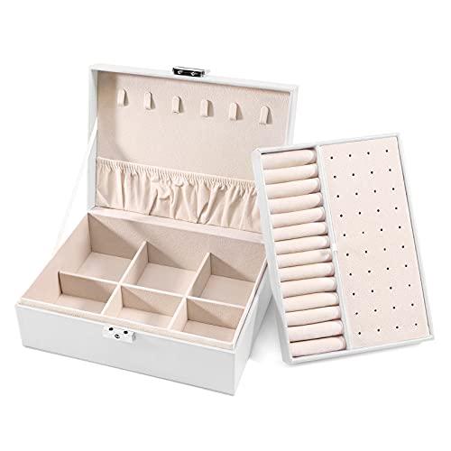 Allinside Joyero Joyero Exquisito para Mujer, Caja de Almacenamiento de Joyería de 2 Capas con Cerradura, Almacenamiento y Exhibición, Cuero de PU, Forro de Terciopelo Perla Blanca