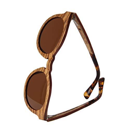 WOLA estilo de redonda gafas de sol en madera SELVA mujer y hombre madera, sunglasses UV400 - polarisado zebrano